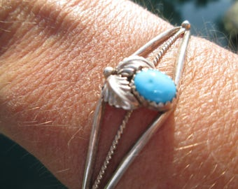 Turquoise and Sterling Silver Feathers Cuff Bracelet