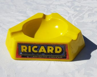 french vintage Ricard ashtray  , ceramic ricard ashtray , opalex ricard ashtray, advertising bistro, Ricard anisette plastic ashtray