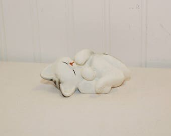 Vintage Enesco Sleeping Cat Figurine (c. 1985) Grey and White Cat, Cat Collectible, Grey Striped Cat, Gift Idea, Adorable Cat Figurine