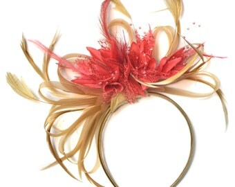 Champagne Gold Beige Camel and Coral Pink Fascinator on Headband Alice Band UK Wedding Ascot Races Derby