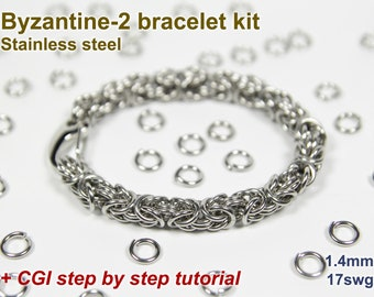 Byzantine-2 Bracelet Kit, Chainmaille Kit, Stainless Steel, Chainmail Kit, DIY Kit, Jump Rings, Chainmail Bracelet Kit, Chainmaille Tutorial