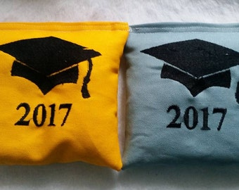 Graduation Cornhole Bags Custom Embroidered Made to Order Select Your Colors Grad Gift Graduation Party Game
