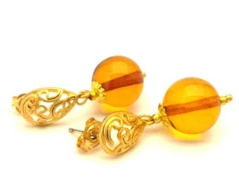 Amber Baltic Earrings Genuine 2.63 Gr Cognac Color Unique Gold Color Stud