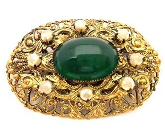 Vintage Wonderful Art Nouveau Emerald Green Glass Pearl Brooch Germany