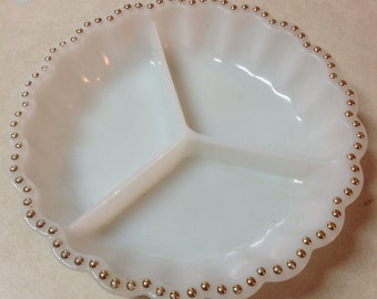 White milk glass divided dish serving relish tray gold fit trim
