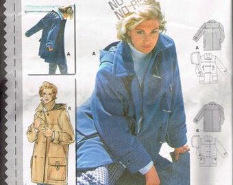 Size 10-20 Misses' Coat Sewing Pattern - Below Hip Length Coat With Detachable Hood Sewing Pattern - Vntage Coat Pattern - Burda 2871