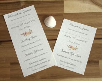 Set of Rustic Poppy DL Personalised Wedding Invitations x 50 & Matching Evening Invitations x 30