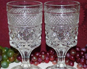 "Anchor Hocking Wexford Pattern 2 Pc Set 5-3/8"" Claret Wine Glasses"