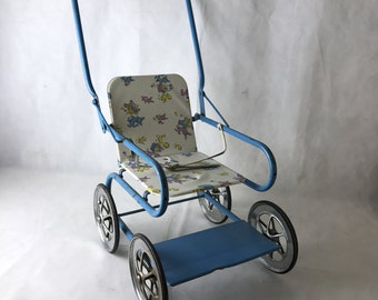 1950 Blue Metal Dolls Pram
