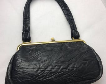 Chamelle by Essell Scrunched Black Leather Bag