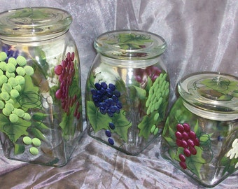 Hand painted, Multi colored Grapes, 3 piece canister set.