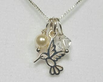 """Hummingbird Silver Necklace/Earring Set """"Welcome to Summer"""""""
