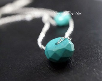 Turquoise Necklace Sterling Silver Layered Faceted Rundelle Turquoise