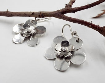 Sterling Silver Flower Earrings, Nature Jewelry, Garden Collection
