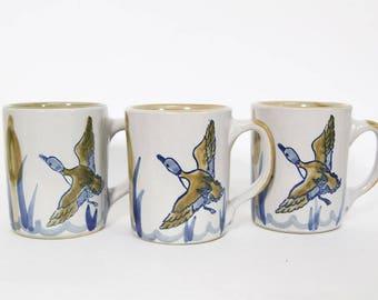 Vintage Louisville Stoneware Duck Cattails Coffee Tea Mug, Handmade Cup, Kentucky Pottery