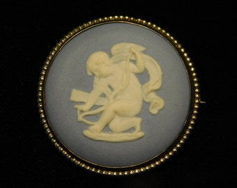 Antique Wedgwood Brooch Cupid Jasperware Cameo .999 Silver Made In England C66