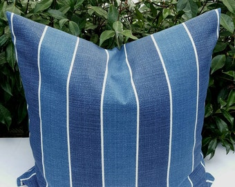 Stripes Richloom Solar Indoor/Outdoor Wickenburg Indigo Decorative Outdoor Pillow Cover White and Blue with Hidden Zipper