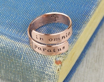 In Omnia Paratus Wrap Ring // Handstamped Jewelry