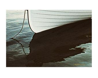 Lapstrake Rowboat at Anchor