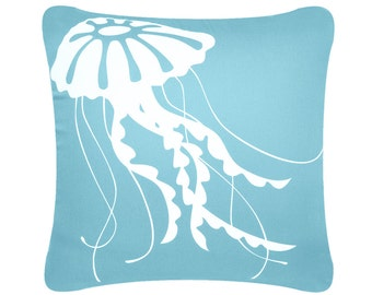 ON SALE-Jellyfish Throw Pillow Cover, Coastal Pillows, Nautical Pillows, Beach House Decor, Blue Pillow, Brown Pillow, Accent, 18 x 18 Inch