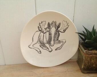 Vintage Plate 1960s Stavangerflint - the Elk   - Animals of Norway - By Ridley Borchgrevink - Mid Century Design
