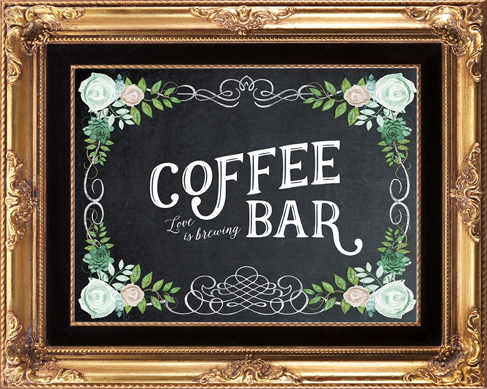 printable coffee bar sign wedding coffee bar sign coffee bar