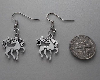 Two-Sided Silver Unicorn Earrings & Corded Necklace