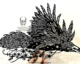 Flying Raven Corvus Carrying The Night Sky & Stars Paper Cutting Template Personal or Commercial Use Papercut Cut Wildchild Designs Space