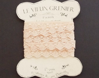 Vintage nude lace, 5 yards, 12mm, tan lace trim, sewing supplies lace trim ribbon, crafting, costume, embellishment, sewing accessories. L19