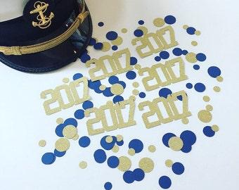 NAVY Paper GLITTER Confetti- USNA Graduation-Table Decoration, Anchor Confetti- Navy and Gold, 2017 Graduation