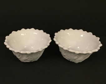 Vintage Pair of Indiana Glass Wild Rose Pattern Milk Glass Bowls with Scalloped Edge