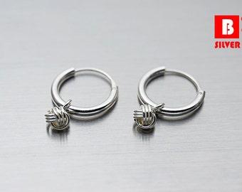 925 Sterling Silver Earrings, Hoop Earrings, Knot Hoop Earrings (Code : EY18A)