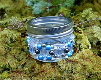 Blue and silver jar tealight holder
