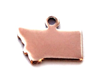 2x Rose Gold Plated Blank Montana State Charms - M132-MT