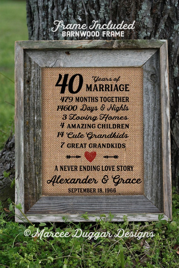 Framed 40th Wedding Anniversary Gift | Love | Valentines Day | Personalized | Burlap | Parent's Anniversary Gift | Grandparent Gift | 257