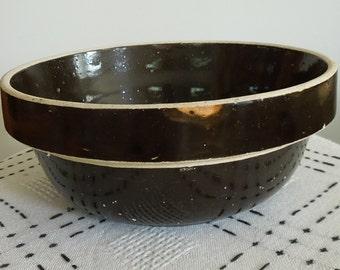 Vintage Brown Stoneware Mixing Bowl