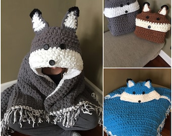 """Crocheted Hooded Fox Wolf  blanket,  Fox hooded pillow blanket, Wolf hooded pillow, """"MJs off the hook"""" quick and thick hooded blanket"""
