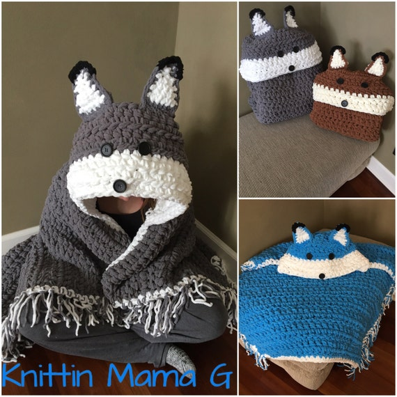 Crocheted Hooded Fox Wolf blanket, Fox hooded pillow blanket, Wolf hooded pillow