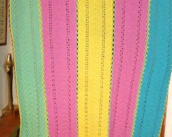 """21618  Handmade LAP BLANKET Crochet Blanket Throw Blanket 80"""" x 45"""""""
