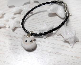 Artic white fox bracelet pendant polymer clay handmade with fox figure kawaii jewelry
