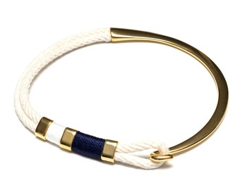 Nautical Rope Necklace / Ivory Rope Necklace / Gold Half Hook Clasp Choker / Nautical Jewelry / Summer Necklace / Nautical Gift