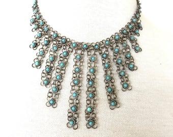 C. 1960s Turquoise Filigree wire bib necklace