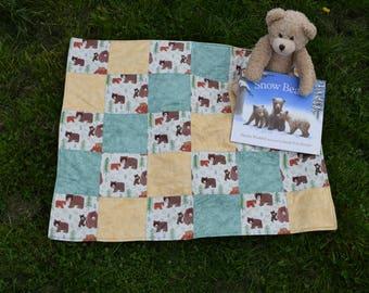 Handmade Woodland Bears Baby Blanket/Play-Mat, Mummy & Baby Bears Blanket, Baby Play-Mat, Woodland Baby Blanket, Bears Play-Mat