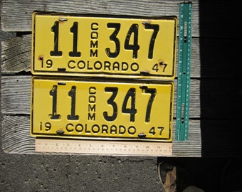 1947 Colorado commercial license plate pair