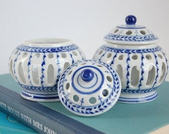 Pair Blue and White Porcelain Votive Jars - Pierced Porcelain Candle Holders - Chinoiserie Porcelain