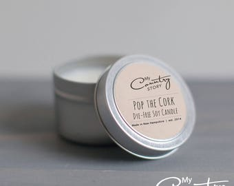 Pop the Cork Champagne Candle   4 oz. Soy Candle Tin   Hand Poured Scented Candle   Wedding Favors   Bridal Gifts   Celebration Candle