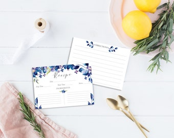 Recipe Cards Set illustrated with blue flowers - 6, 12 or 24 cards - Illustrated Recipe Cards - Recipe Cards - Illustrated recipe - Floral