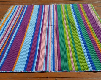 Art Quilt, Fiber Art, Patchwork modern art, abstract art quilt by LallaBaru Art Abstract Patchwork Quilt ,Handcrafted, Stripe Multicolor