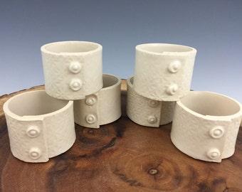 Napkin Rings, Napkin Holders, Set of 6, Handmade, Ceramic, Pottery