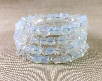 Moonstone Simulated Stone Glass Beaded Chips Memory Wire Bracelet